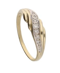 Ring - Bi-colour 14k White/Yellow gold - Diamond - Ring size: 20.5 mm