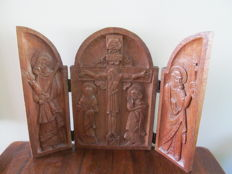 Wood-carved religious triptych - Italy - around 1900