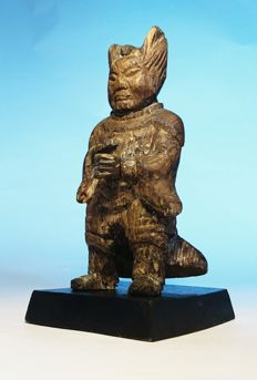 Warrior Ancestor Figure- Signed, Wood with Gesso and Polychrome Remnants-  China - second part 18th Century