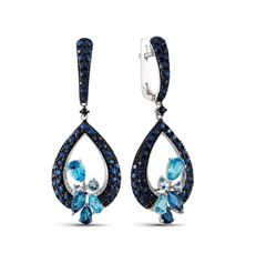 Golden drop earrings with sapphires, topazes and diamonds -  length: 4 cm
