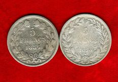 France - 5 Francs 1830-A and 1837-A (set of 2 coins) Luís Felipe - Silver.