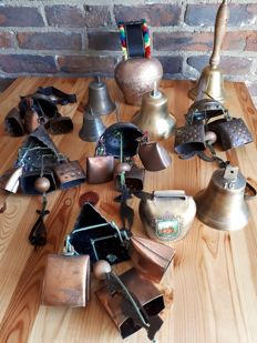 Collection of 12 old French bells