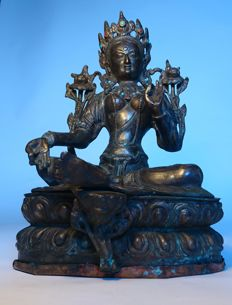 Jewelled Bronze Statue of Green Tara - Tibet / Nepal - second half 20th century