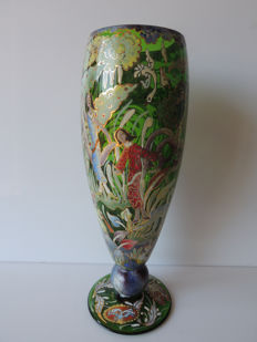 Very large enamel painted vase on pedestal signed José Royo.