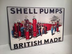 Metal Shell advertising sign - late 20th/early 21st century - Shell Pumps British Made
