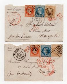 France 1870 - lot of 2 letters with tricolour stamps for the United States by way of English post.