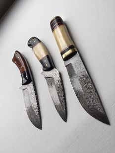 3 Pieces Custom Handmade Skinner  Chef Knifes of Damascus Steel