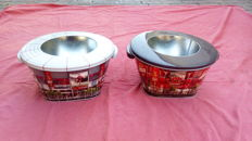 Lot of 2 advertising ice buckets of beer of Cruzcampo - Spanish Football Team - 80s