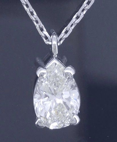 White gold necklace with pear-shaped cut diamond of 0.55 ct *** no minimum price***