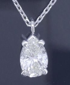 **White gold necklace with a pear shaped cut diamond of 0.70 ct ***no minimum price***