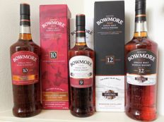 3 bottles - Bowmore 10 years old Travel Retail & Bowmore 9 years old Sherry Cask Matured & Bowmore 12 years old Enigma