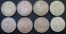 United Kingdom - ½ Crowns 1920/1938 George V and VI (8 pieces) - silver