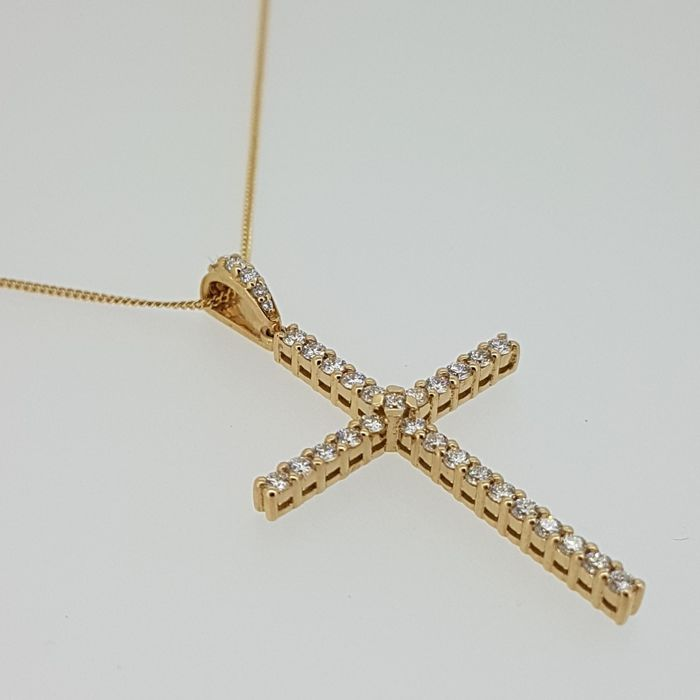 18kt Red gold Cross with necklace - Diamond 0,61ct - 40cm