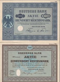 Lot of 60 items -  Deutsche Bank 1952 Aktie 100 RM 30 items and Dresdner BAnk 1952 Aktie 100 RM 30 items