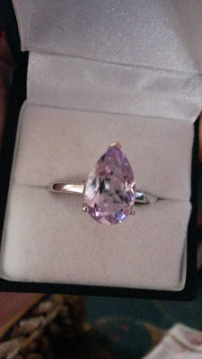 Beautiful and Classical, Genuine 3.87 Pale Pink Brazilian Rose De France Pink Amethyst dress ring