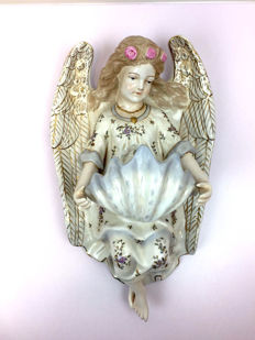 Porcelain holy water font in the shape of an Angel - 20th century