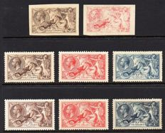 Great Britain King George V 1910/1934 - 2/6d 5/- and 10/- Seahorse Group, Stanley Gibbons 414/417 and 450/452