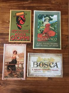 4 Advertising signs ACQUA BOGNANCO - ACQUA GIOMMI - FERNET BRANCA - CHAMPAGNE BOSCA 90's