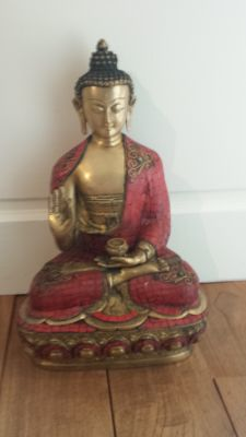 Seated bronze Buddha, 42 cm, 9000 grams - Nepal - Late 20th century