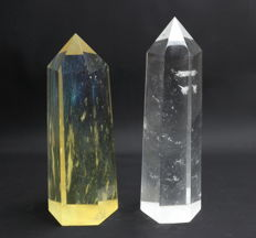 Set of perfect synthetic Lemon and Clear Quartz points - 21.8 and 23cm - 3165gm