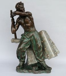 Richard Aurili - sculpture of a man, blacksmith - 70 cm