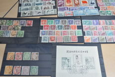 China - Batch on cards ith 1958 block 6, eight Dragons, Dschunke, Heavenly Gate, Sun Yatsen, mid-modern and more.