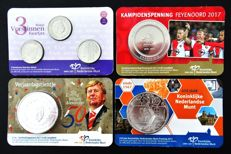 The Netherlands – Various coins and medals in (4 different) Coin cards