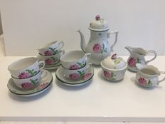 Herend - coffee set with marguerites, partly marked tertia.