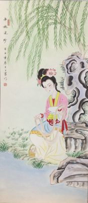 Hand painted scroll painting of beauty - China - late 20th century