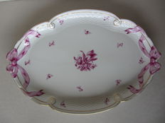 Herend porcelain - Large oval tray with ribbon