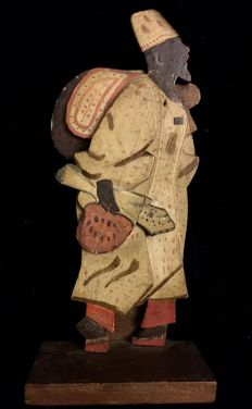 "Very rare orientalist figure in wood, North of Africa, 19th century, ""Arab character"""