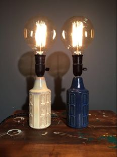 Søholm on the island of Bornholm - Classic mid century ceramic lamps ( 2x )