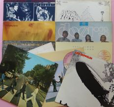 Set of 10 classic albums (11 lp's) by; The Beatles, The Rolling Stones (2), Led Zeppelin, Pink Foyd (3), The Doors, Neil Young and Leonard Cohen (live)
