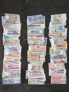 World - Collection of 125 banknotes from all over the world.