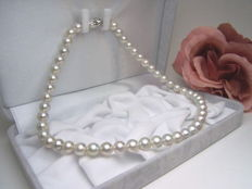 Japanese Akoya pearl necklace between 9 and 10 mm in diameter