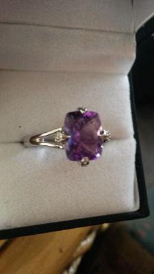 Unique, Genuine Moroccan Purple (red flashes) Amethyst with Diamond Coctail ring
