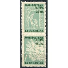 Spanish Civil War Stamps (1936-1939), Passive Defence Council, Tarragona, 25 cents, vertical pair of stamps with two different types, Allepuz 22.