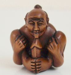 Sculpture; Autofelatio Man Netsuke - 2nd half 20th century