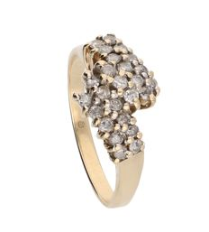 Yellow gold 14 kt ring set with 25 brilliant cut diamonds of approx. 0.5 ct in total – 3.9 g – Ring size 17.75 mm