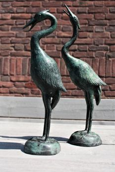 Two very fine bronze  heron statues, approx.1960, France