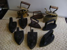 10 old irons 19th/20th century