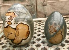 Interesting Polychrome Jasper eggs - 17 and 13cm - 4.91kg (2)