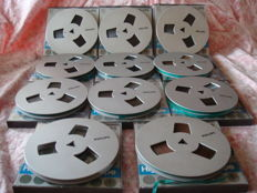 11 x Philips dp18 High Output Reel to Reel audio tape metallic look
