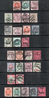 Great Britain Queen Victoria official stamps 1882/1901 - a small collection.