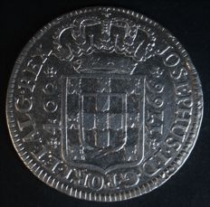 Portugal – Cruzado in silver – D. José I – 1766 – Lisbon – Crown with 5 arches and peduncles – Larger flowers on the reverse side – VERY RARE AND VALUABLE