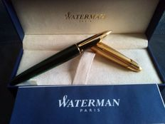 Waterman Edson Emerald Green Fountain Pen, 18K 750 Yellow Gold Medium(M) Nib