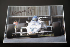 Professionally framed image, personally signed by Keke Rosberg