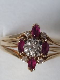 Ring with briliiant cut diamonds, 0.28 ct, colour H/I, clarity VS1, and navette cut rubies, 0.40 ct, light red colour, clarity VS1 – 1970s