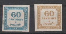 France 1871 - Servizi, blue and yellow 60 cents