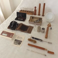 Lot with 12 antique medical doctor's instruments and attributes